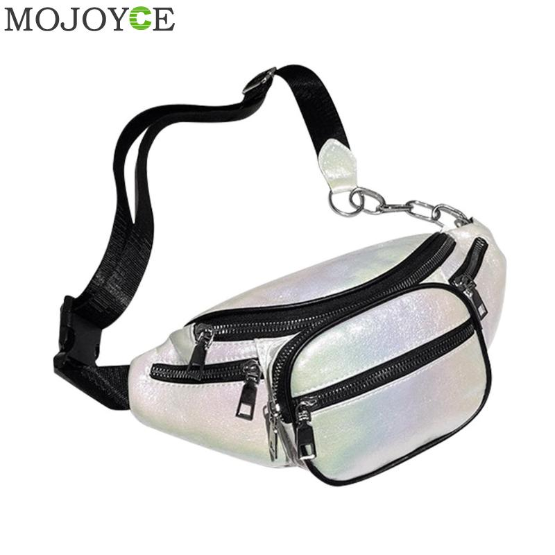 Holographic Women Fanny Pack Belt Bag Shiny Laser Hologram Waist Bags Travel Shoulder Bag Party Rave Hip Bum Bag