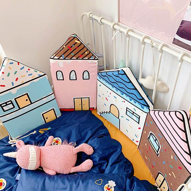 Bébé berceaux coussin pare-chocs literie infantile Protection coussin coussins dessin animé maison forme lavable BXX028