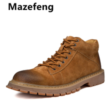 Mazefeng New Men Leather Boots Fashion Autumn Winter Top Brand