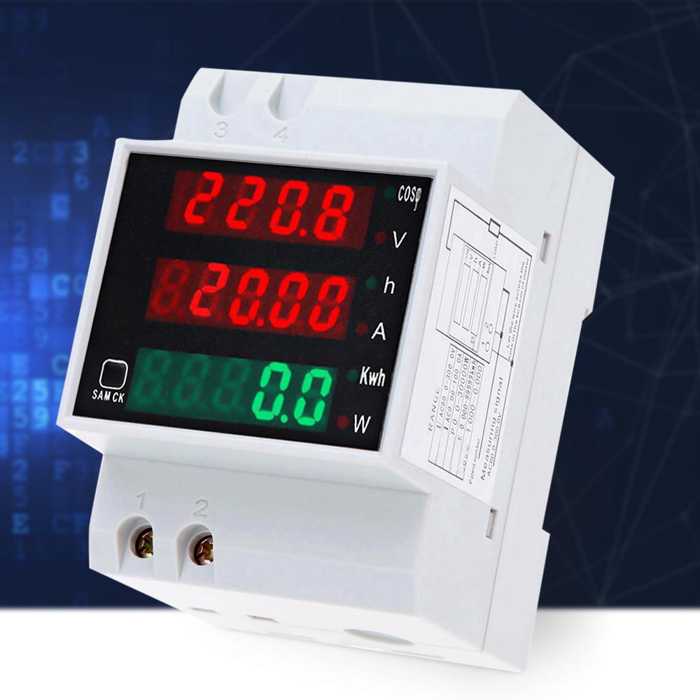 D52-2047 AC 80-300V 0-100A din-рейка светодиодный Вольтметр Амперметр активный коэффициент мощности счетчик энергии Напряжение Вольт ток цифровой измеритель