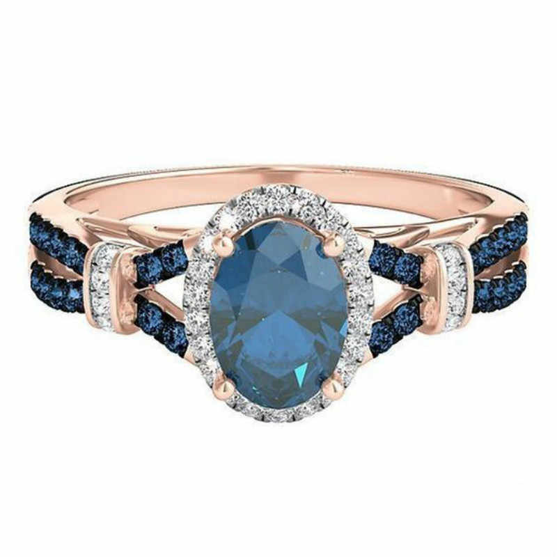 Anillo de circonio envuelto en oro rosa de zafiro de lujo para mujer regalo fiesta Bijoux compromiso anillos de boda joyería