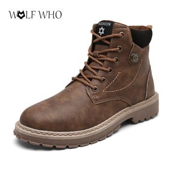 Buty męskie buty Martens skórzane zimowe ciepłe buty fajne motocyklowe męskie botki jesienne męskie oksfordzie buty śniegowce męskie buty do pracy tanie i dobre opinie Wolf Who Pracy i bezpieczeństwa Mikrofibra ANKLE Lace-up Stałe Dla dorosłych Pasuje prawda na wymiar weź swój normalny rozmiar