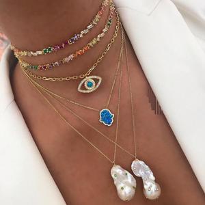 rainbow cz choker necklace gold color adjusted box chain multi layer 2020 new fashion collar chain