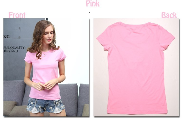 High Quality Plain T Shirt Women Cotton Elastic Basic T-shirts 16
