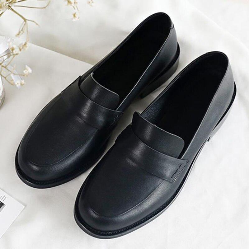 Sapatos femininos oxford sapatos de trabalho formal calçado preto apartamentos deslizamento on retro couro genuíno sapatos femininos de casamento mocassins - 5