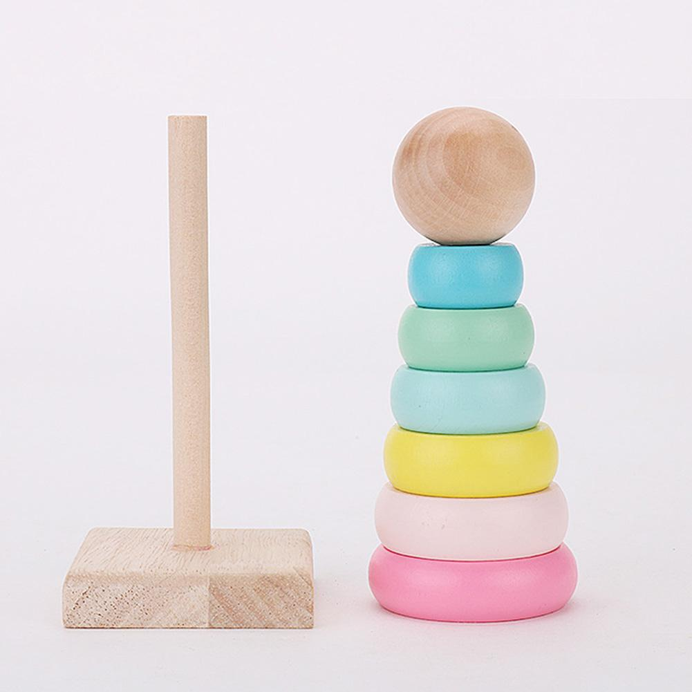 Wooden Stacking Macaroon Rings Tower Blocks Sensory Toy Children Kids Educational Toys