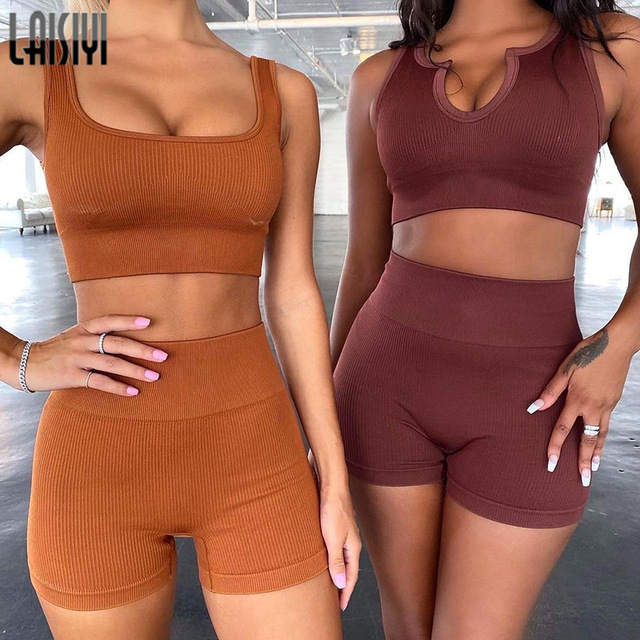 LAISIYI 2PCS Set Ins Seamless Knitting Gym Sport Workout Running Short Bra Suit Tracksuit U Neck Fitness Sports Suit 2