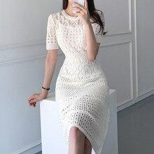 Shijia coréia chique elegante vestido mulher cintura fina oco o-pescoço damasco vestidos de malha feminino 2021 verão casual meados vestidos