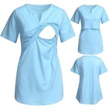 Nursing Top Women Maternity Short Sleeve V-neck Nursing Tops T-shirt For Breastfeeding Maternidad Ropa Lactancia Pregnancy Shirt cheap TELOTUNY CN(Origin) Polyester Cotton Chiffon Solid Regular Natural Color