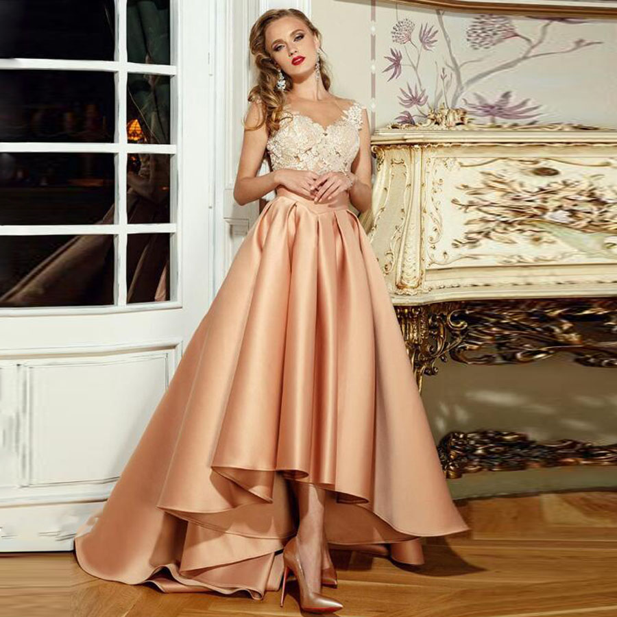 Satin Scoop Tulle Neckline Ankle Length Lace Applique Formal   Evening     Dress   with Illusion Button Back Bridal Party   Dress