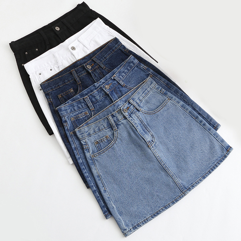 Lucyever Fashion Korean Summer Women Denim Skirt High Waist Black Mini Skirts Package Hip Blue Jeans Harajuku Plus Size Cotton