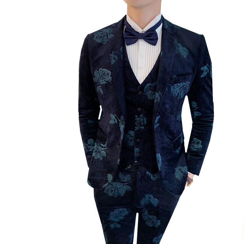( Jacket + Vest + Pants ) Velvet Suit British Style Mens Slim Fit Blazer Wedding Prom Groom Formal Business Work Wear Suit 3pcs