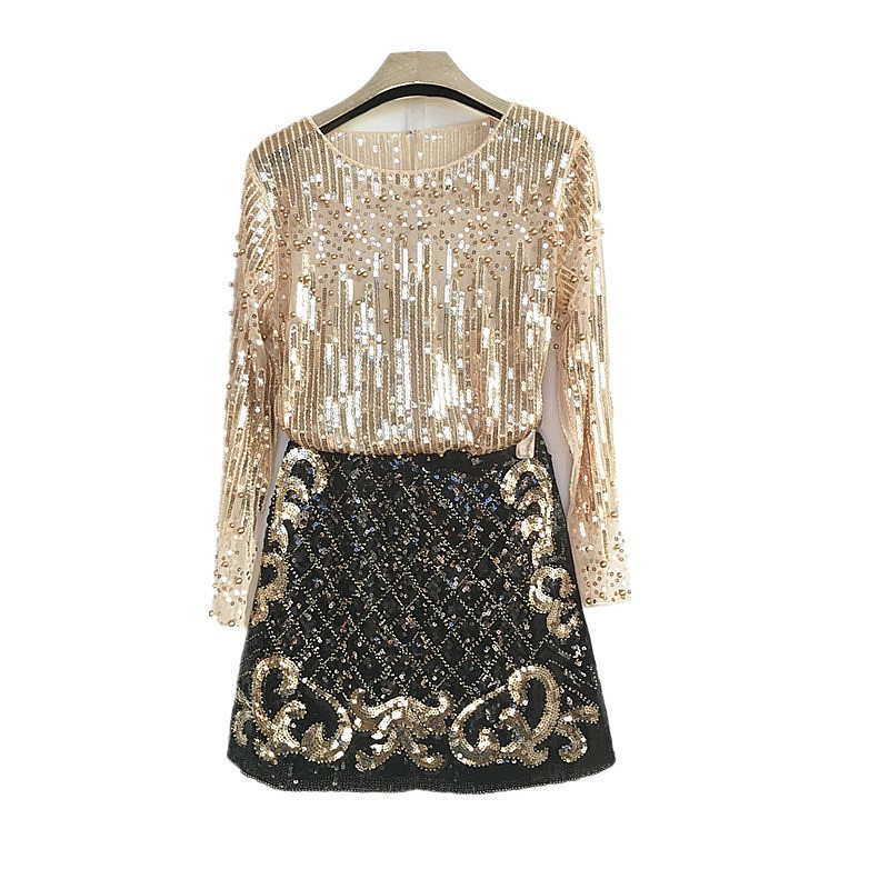 Birthday Banquet Thai Goods New Style WOMEN'S Dress-Style Heavy Craft Beads Long Sleeve Sequin Shirt Sheath Short Skirt Two-Piec