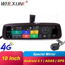 WHEXUNE 4G جهاز تسجيل فيديو رقمي للسيارات أندرويد تاتش ADAS داش كام سيارة مرآة الرؤية الخلفية 10 بوصة داش عدسة كاميرا مزدوجة لتحديد المواقع الملاحة واي فاي مسجل