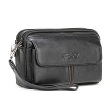 Men Clutch Wallet High Quality Genuine Leather Long Purse Male Phone Bag Passport