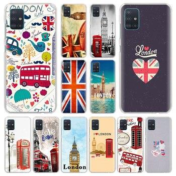 Funda de teléfono con bandera de Reino Unido y Londres para Samsung Galaxy M10s M20 M30s M40 M11 M21 M31 M51 A6 A7 A8 Plus A9 2019, Funda dura Capa