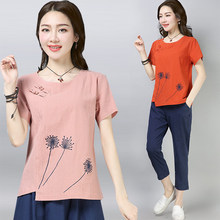 Cotton and linen T-shirt women's short sleeve national style embroidered linen blouse women's(China)