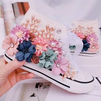 Pearls Bead Women's Sneakers Vucanized Shoes Woman 2020 Spring Floral White Casual Canvas Shoes Ladies Trainers Zapatillas Mujer