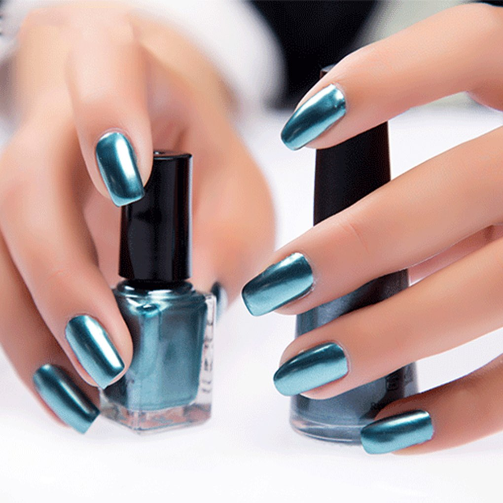 Craney Peeling Nail Polish 17 Colors 6 ML Lasting Metal Mirror Colors Nail Art Polish Gel Polish light blue 1