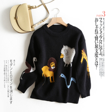 Knitted Sweater Women Jumper Winter 2019 New Fashion o-neck cartoon print Casual Thick Pullover knitted black top