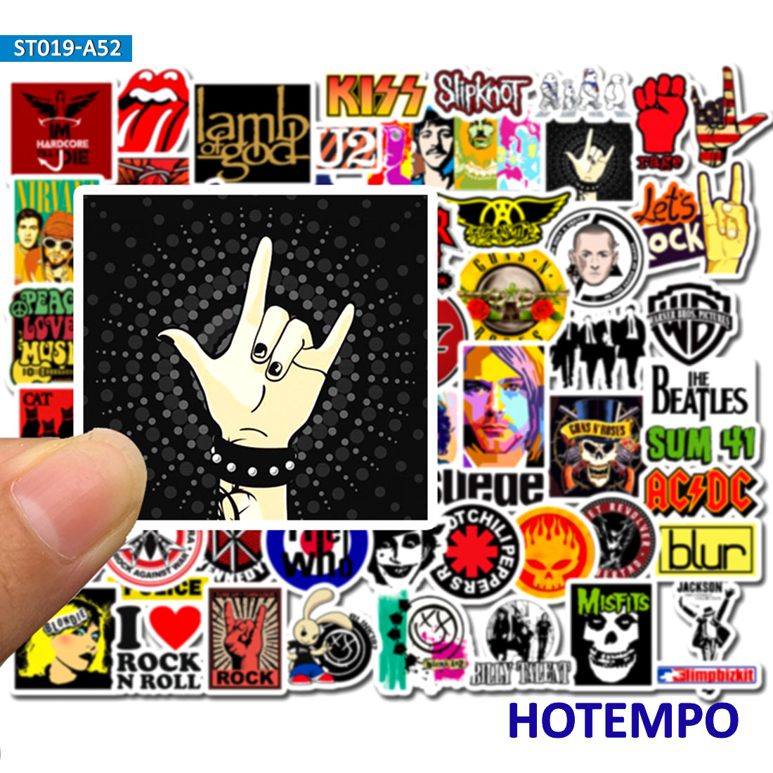 52pcs Rock And Roll Punk Music Band Stickers For Mobile Phone Laptop Luggage Guitar Case Skateboard Bike Car Stickers
