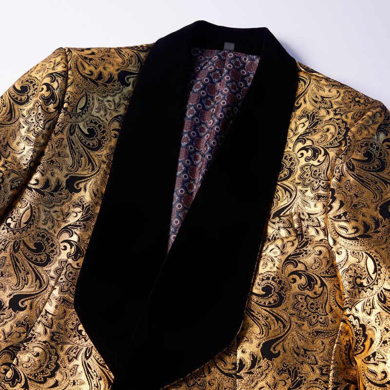 PYJTRL Herren Zwei-stück Set Hochzeit Anzüge Mit Hosen Gold Floral Muster Prom Smoking Sänger Kostüm Anzug Neuesten Mantel hose Designs