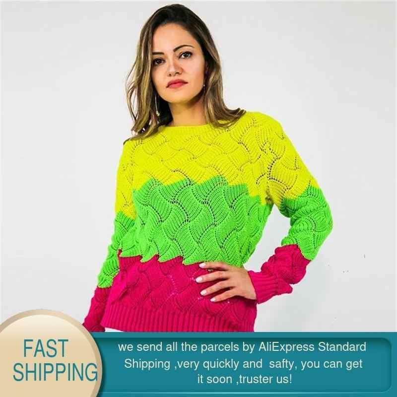 여성 스웨터와 풀오버 겨울 2020 따뜻한 니트 양모 스웨터 한국어 플러스 사이즈 스트라이프 튜닉 느슨한 섹시한 긴 소매