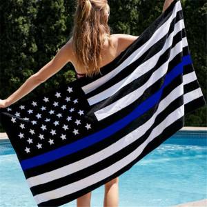 90*150cm USA Police Flags Thin American National Banner White And Blue Stars Printed Strip with Brass Grommets PC885857