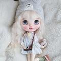 ICY 19 шарнирная кукла blyth с макияжем лица, белая кожа с густыми губами и большими глазами, макияж лица, голая кукла с париком, милая девушка 001