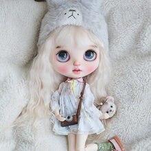 Boneca icy 19 juntas blyth, com maquiagem, pele branca, com lábios grossos e olhos grandes, boneca nua com peruca fofa 001