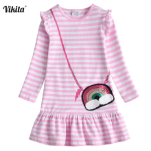VIKITA New Kids Dresses for Girls Children Sequins Dress Long Sleeve Autumn and Winter Toddlers Cotton Vestidos