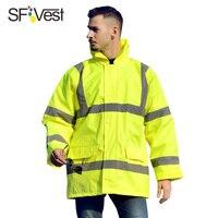 SFVest high visibility reflective raincoat cotton jacket coat luminous safety raincoat