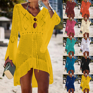 2020 Sexy Crochet Knitted Beach Cover up Tassel Tie Beachwear Tunic Long Pareos Summer Swimsuit See-through Beach Dress Bikini(China)