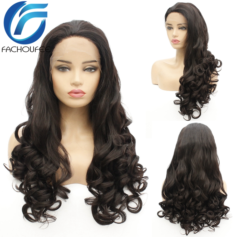 Yomagic Loose Wave Lace Front Wigs With Baby Hair Black Color Synethetic Hair Glueless Lace Wigs With Natural Hairline