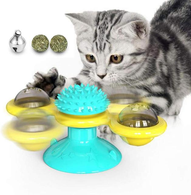 windmill cat toy Turntable Teasing Interactive cat toys interactive with Catnip Cat Scratching Tickle Pet ball toys Cat Supplies 1