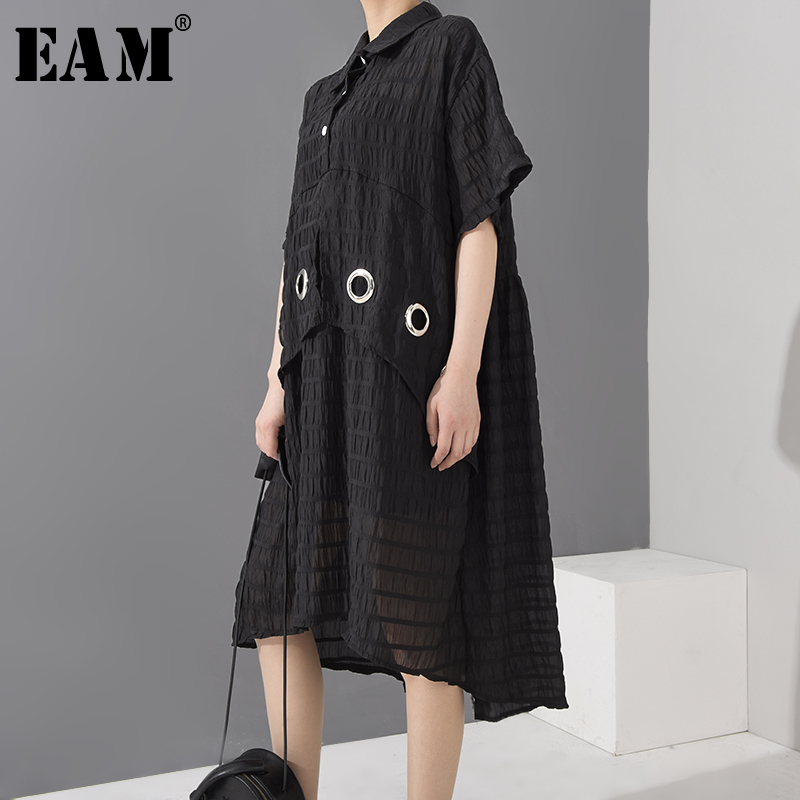 [EAM] Women Black Plaid Irregular Split Big Size Shirt Dress New Lapel Short Sleeve Loose Fit Fashion Spring Summer 2020 1W644