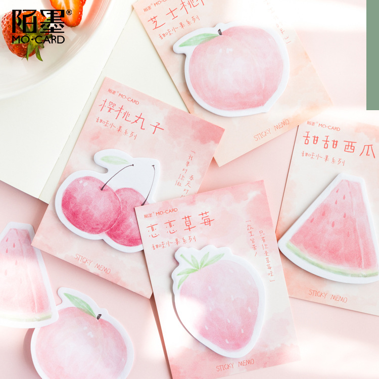 30 Sheets/pad Fresh Fruits Kawaii Memo Pad Sticker Self-stick Note Notepad Marker Planner Stationery For Office School Supply