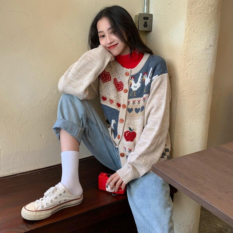 Vintage Casual Loose Love Cardigan Sweater Women's Sweaters Japanese Kawaii Ulzzang Female Korean Harajuku Clothing For Women