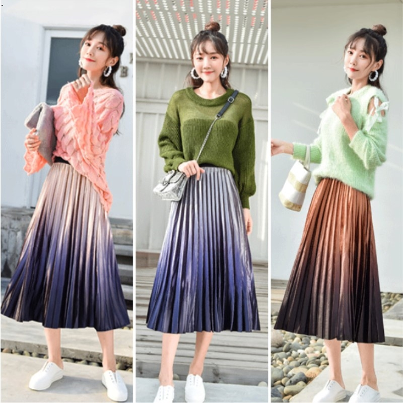 Women Long Skirts Girl Skirt Gradients New 2019 Pleuche Pleated Skirt Gradients Long Skirt 6901 Autumn Winter