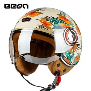 Image 2 - BEON B 110 open face motorcycle helmet motorbike Casco Capacete Jet Vintage Retro helmets scooter helmet ECE