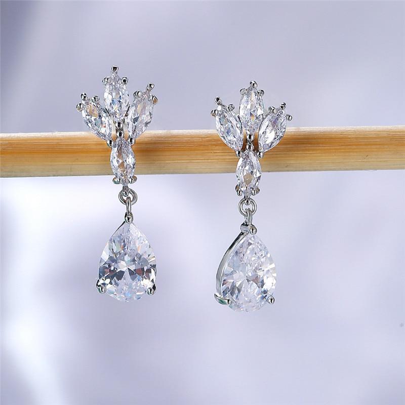 Simple Female White Crystal Stone Earrings Charm Silver Color Dangle Earrings Cute Bridal Leaf Wedding Earrings For Women