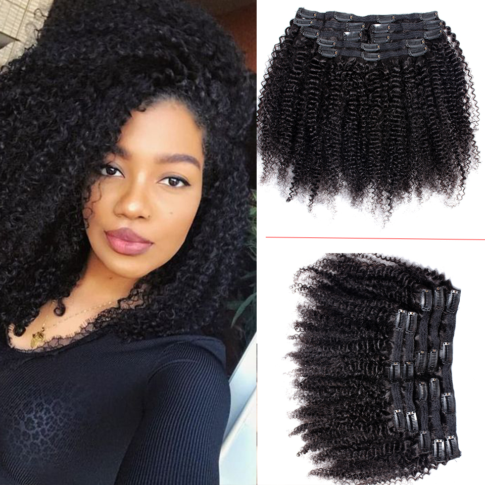 Afro Kinky Curly Clip In Human Hair Extensions For Black Women Peruvian Remy Hair Natural Color 7Pcs/120g Tinashe Beauty Hair
