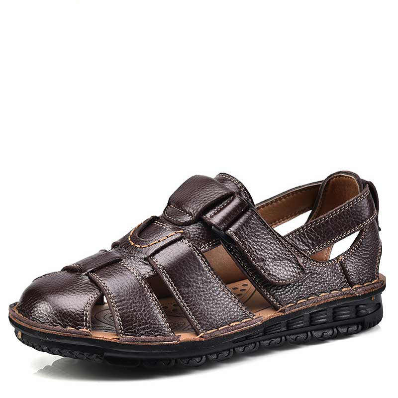 Summer Old Man Wearing Men's Soil Leather Beach Shoes Breathable Mesh  Eyelids Sandals Baotou Non slip Grandpa Shoes|Men's Sandals| - AliExpress