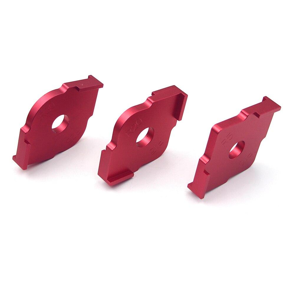 3pcs Wood Panel Radius Quick-Jig Router Table Bits Engraving Machine Trimmer Jig Corner Templates Kit Aluminum alloy
