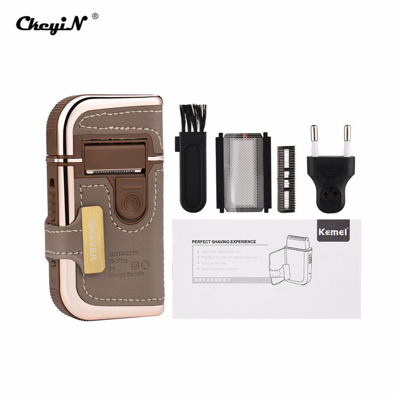 2 In 1 Men Electric Shavers Razors Vintage Leather Wrapped Rechargeable Travel Mustache Beard Trimmer Shaving Machine