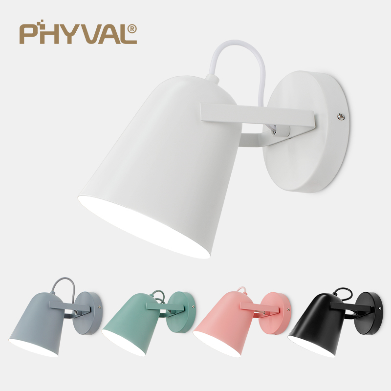 PHYVAL Wall Lamp Led Nordic Sconce Wall Lights E27 Head Light Macaron Wall Lamps For Bedside