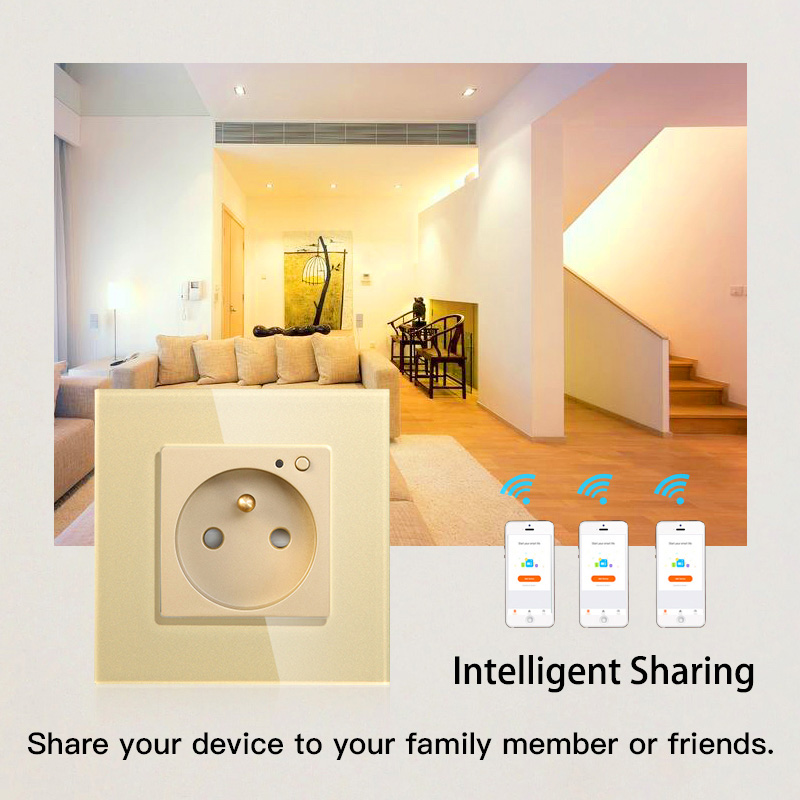 Image 5 - WiFi Smart Wall Socket Outlet Glass Panel Smart Life/Tuya APP Remote Control,Works with Amazon Echo Alexa Google Home EU FR UKElectrical Sockets   -