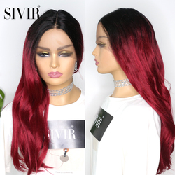 Synthetic Middle Part Lace Wigs SIVIR Long Straight BUR Red Color Wig Glueless Heat Resistant Fiber Wig For Women