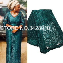 Green African Lace Fabric 2020 High Quality Lace with Beaded, Latest Nigerian Lace Fabrics for Bride French Tulle Lace Fabric M3