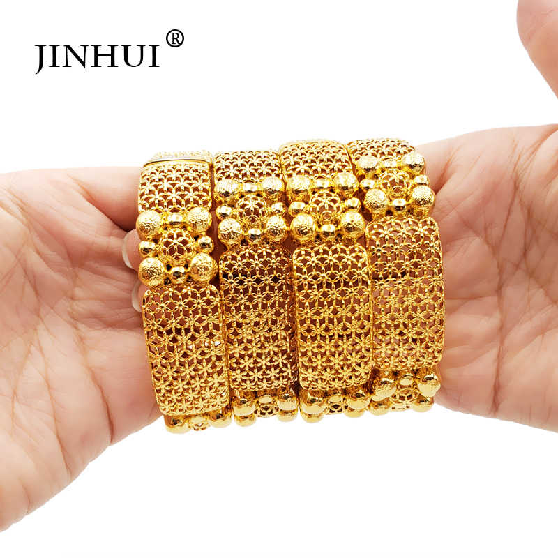 Jin Hui New Fashion lady Luxury Gold Color Jewelry Bangles Ethiopian African Women Dubai Bracelet Party wedding Gifts Girlfriend